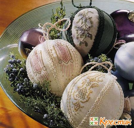 Новогодние шарики с вышивкой