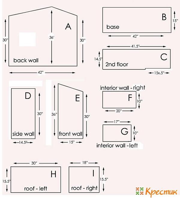 Домик для барби чертеж