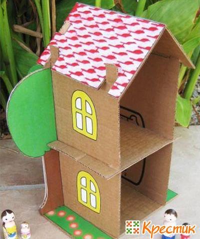 Домик для барби из картона