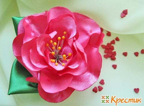 Цветы из лент на ободок своими руками
