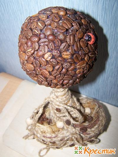 Чем украсить кофейный топиарий