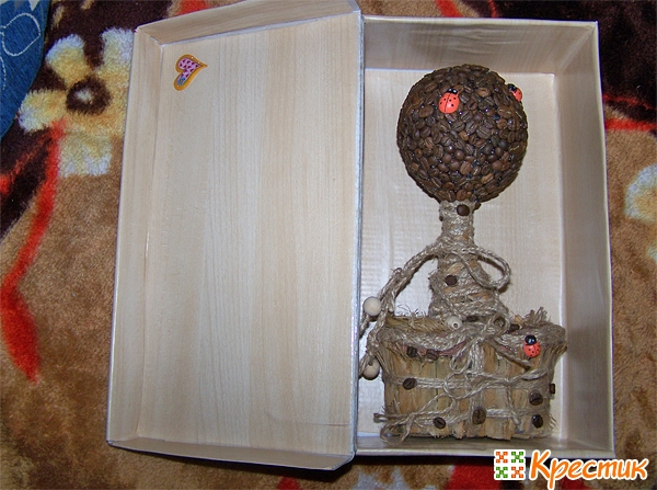 Кофейный топиарий в коробочке