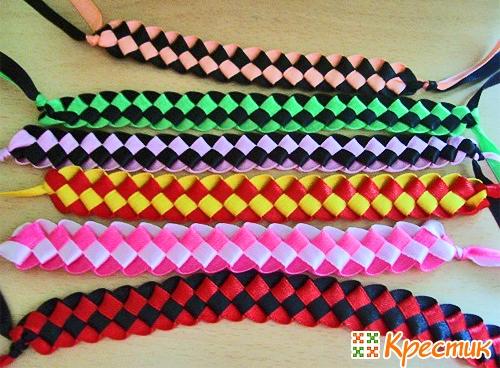 Плетение фенечек из ленточек