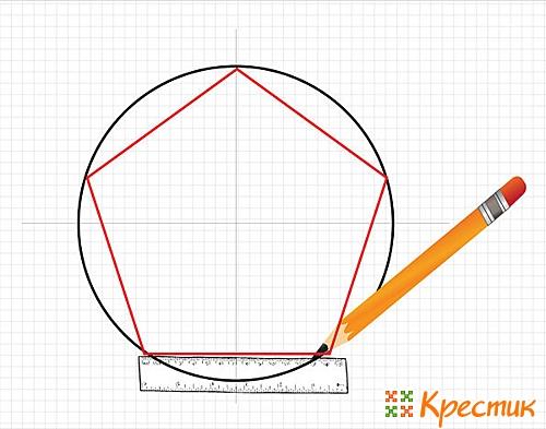 Пятиугольник с помощью линейки и циркуля