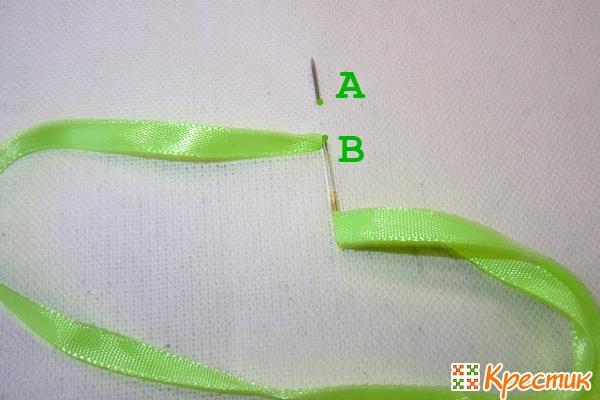 Вышивка лентами цепочка