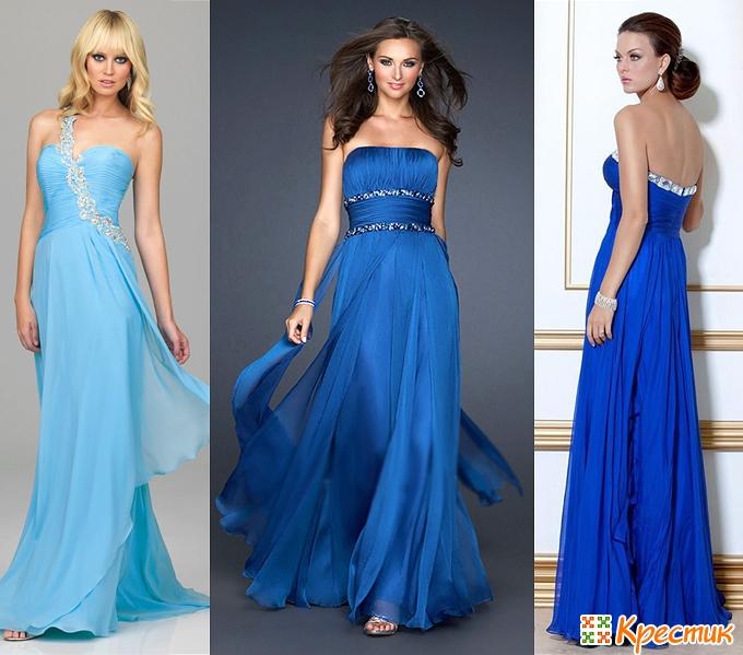 Новогоднее синие платье