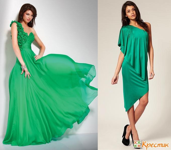Зеленое платье на Новый год 2014