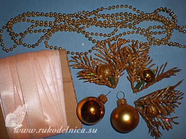 Новогодние украшения для букета
