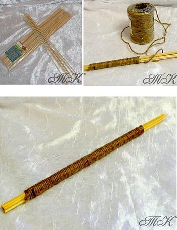 Ствол топиария из деревянных шпажек