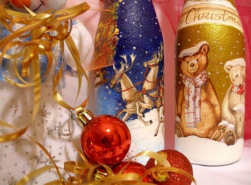 Декор новогодней бутылки шампанского своими руками