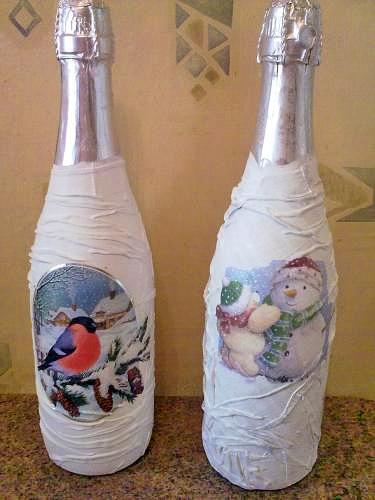Декупаж бутылок салфетками для начинающих