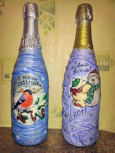 Декупаж бутылок тканью