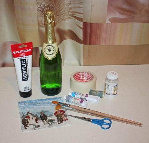 Материалы для декупажа бутылок