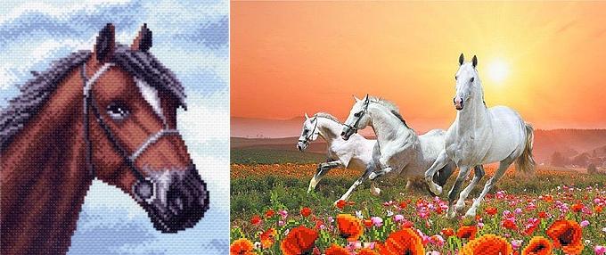 Канва с нанесенным рисунком лошадей