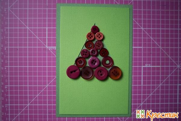 Новогодняя открытка с пуговицами
