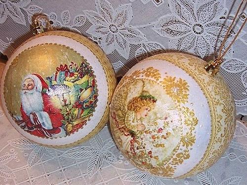 Декупаж и роспись новогодних шаров