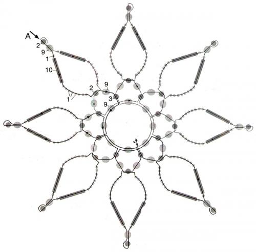 Снежинка из бисера схемы