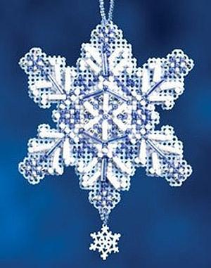 Вышивка снежинка бисером