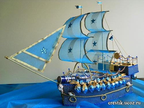 Корабль из конфет сделанный своими руками