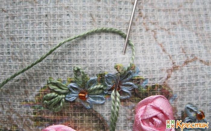 Канва для вышивки лентами с рисунком