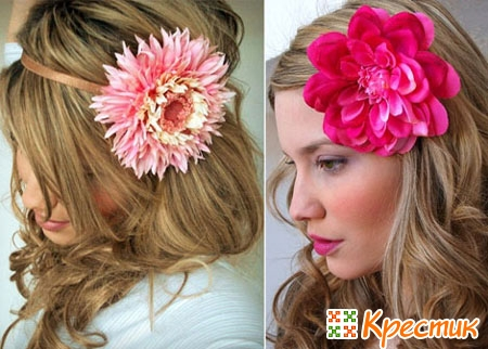 Цветы из ткани в волосах