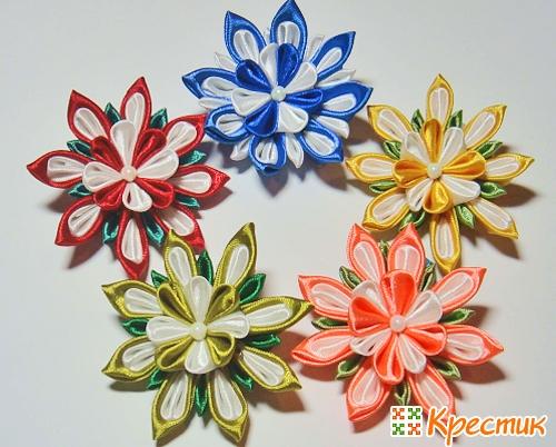 Букет цветов канзаши