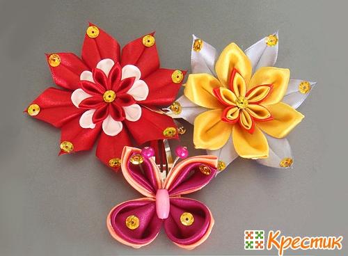 Цветы из ленты канзаши своими руками мастер