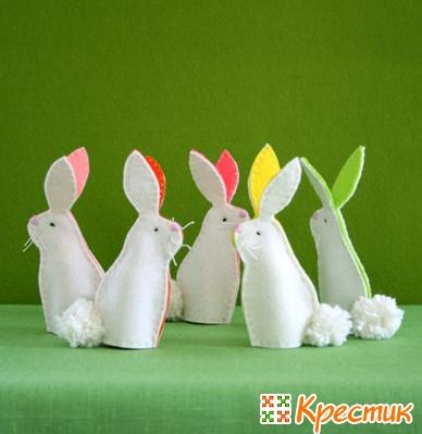 Пасхальные кролики из фетра