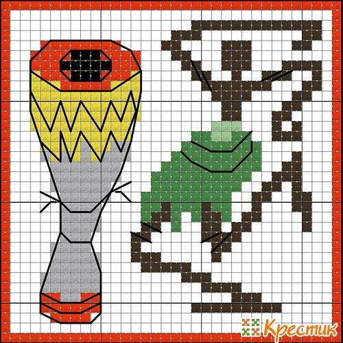 Кубик кривулька схема вышивки 1