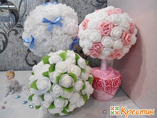 Цветочки на топиарий