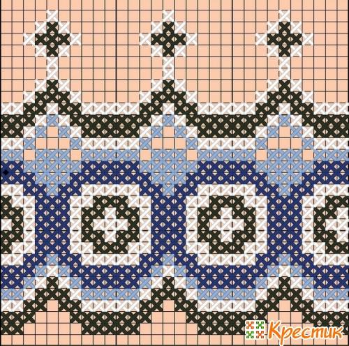 Снежинка кривулька схема вышивки 1
