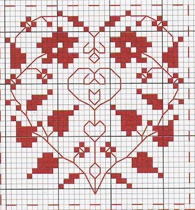 Схема вышивки крестом сердечка