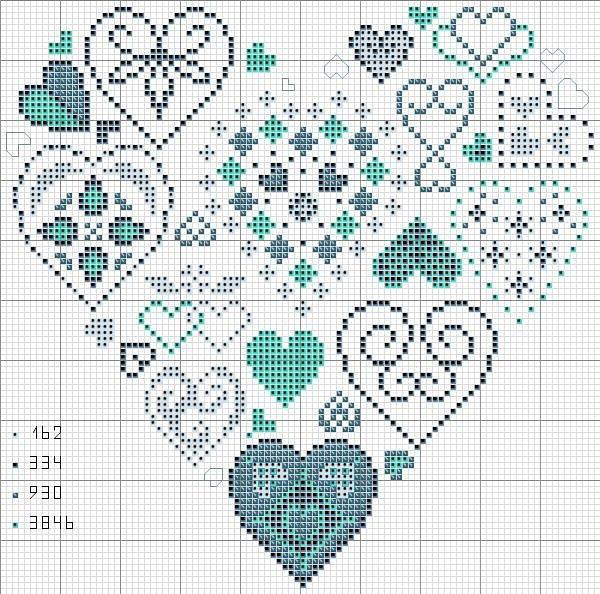 Схема вышивки сердце