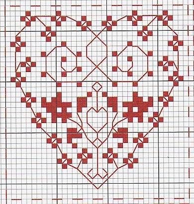 Схема вышивки сердечка