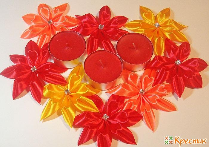 Цветы из атласных лент Канзаши