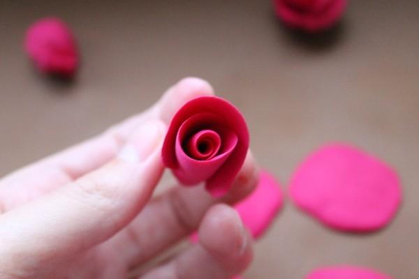 Роза из полимерной глины мк