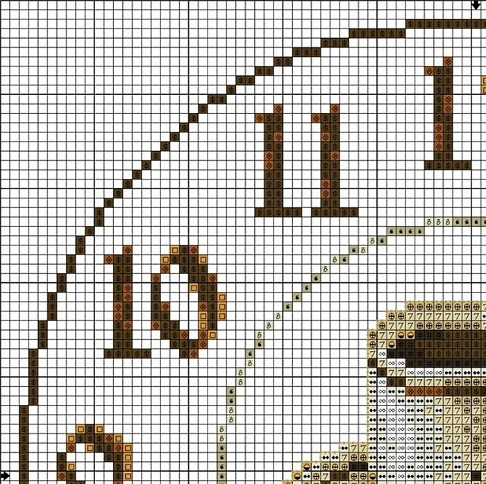 Часы схема вышивки крестом 1
