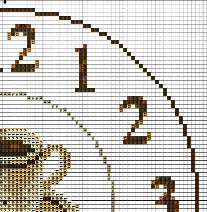 Схема вышивка крестом часы для кухни