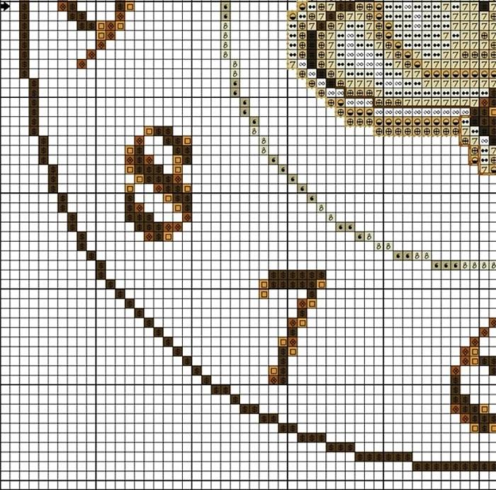 Часы схема вышивки крестом 3