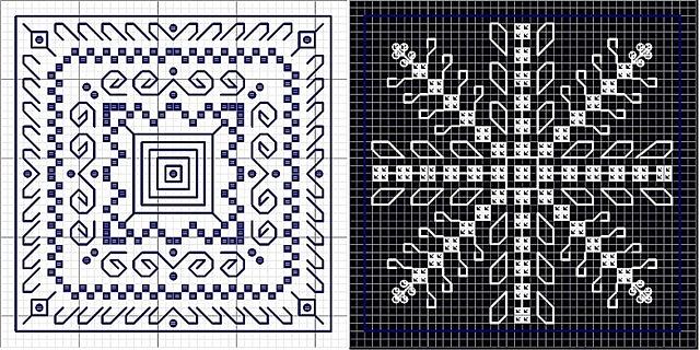 Две схемы вышивки бискорню