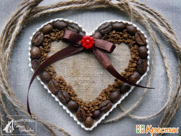 Кофейный магнит в форме сердца