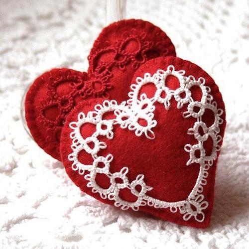 Сердечки с кружевами