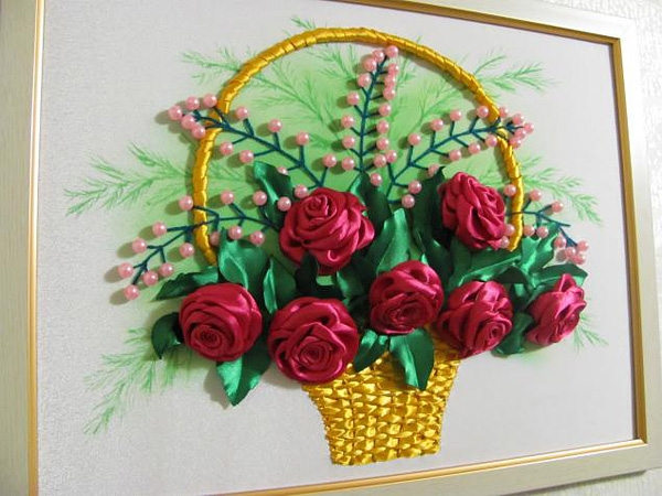 Корзина с цветами вышивка лентами