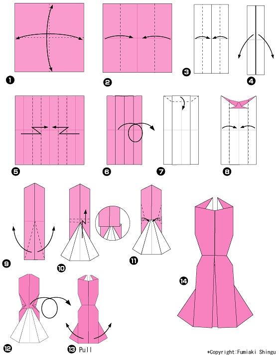 Схема оригами-платьица