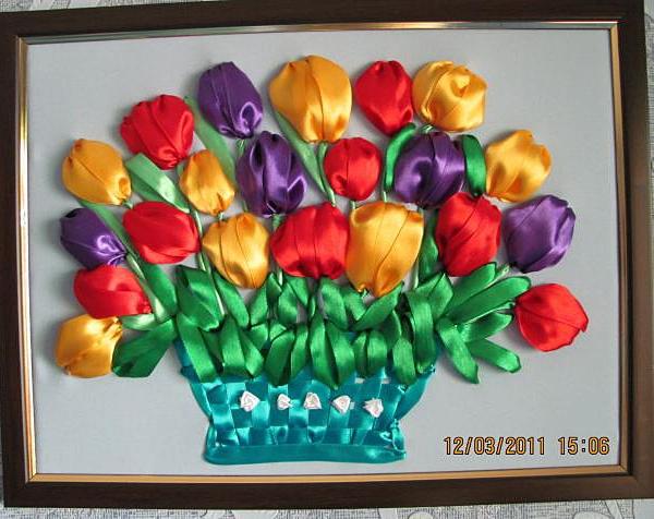 Вышивка атласными лентами тюльпаны