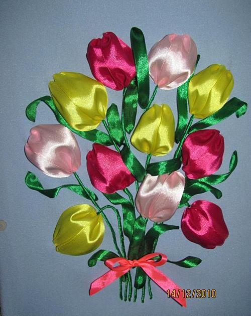 Вышивка лентами тюльпаны фото