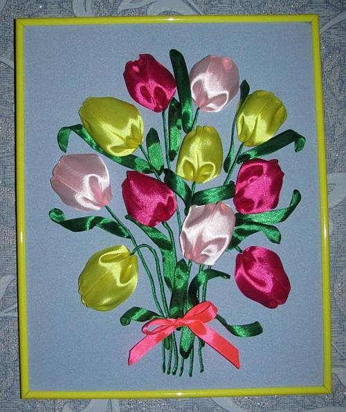 Вышиваем лентами тюльпаны (мастер-класс для начинающих) и оформляем ... 0a43ac7069d08