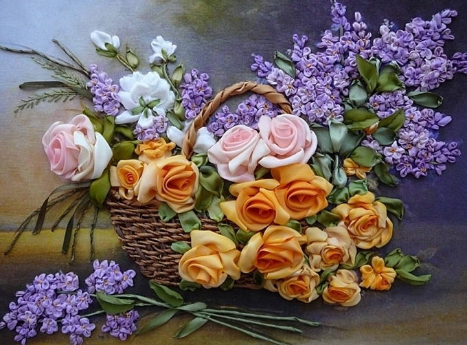 Вышивка лентами роз и сирени