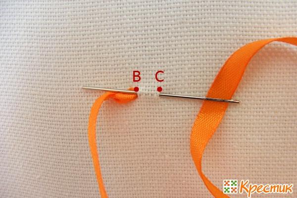 Вышивка лентами стежки