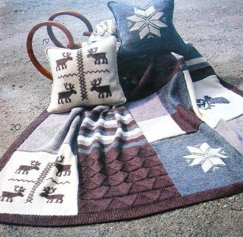 Плед и подушки из квадратов